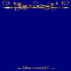 Gold Hearts and Floral Design Over Royal Blue