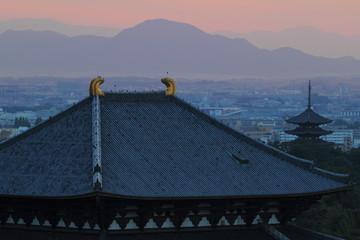 夕暮れの大仏殿と五重塔
