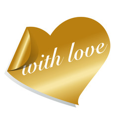 button / sticker golden heart - with love