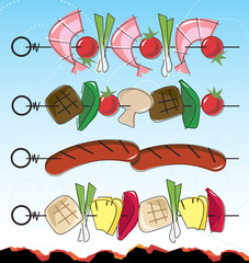 Stylized Retro barbeque kebab Icons with blue sky