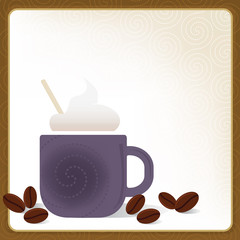 Whimsical Coffee Cappuccino Frame; Swirly and stylized with coff