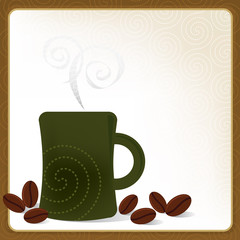 Whimsical Coffee Mug Frame; Swirly and stylized with coffee bean