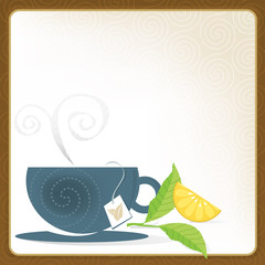 Whimsical Cup of Tea Frame; Swirly and stylized with lemon.