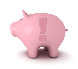 Piggy bank with exclamation mark symbol
