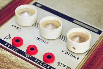 macro closeup vintage Amplifier dials.