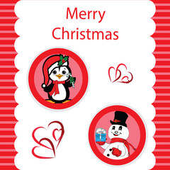 Red Christmas with a Peguin and Snowman