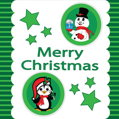 Green Christmas with a Peguin and Snowman