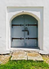 Door of medieval church in Veliky Novgorod, Russia