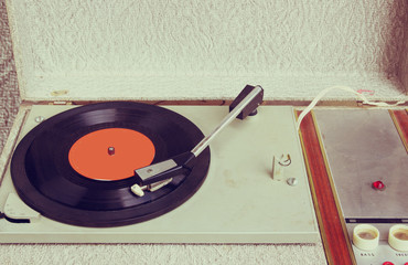 top view of old record player
