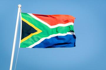 South Africa flag on a blue sky