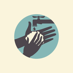 Wash your hands, vector illustration icon
