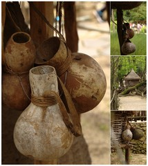 Collage with african house and bottle