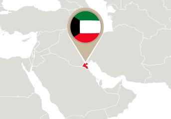 Kuwait on World map