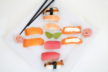 Nigiti set, sushi in white plate