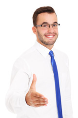 Happy businessman greeting someone over white background
