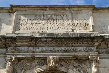 Arco di Tito, iscrizione sul lato ovest - Roma