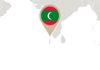 Maldives on World map
