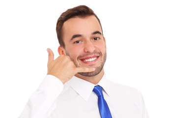 Happy businessman with calling sign