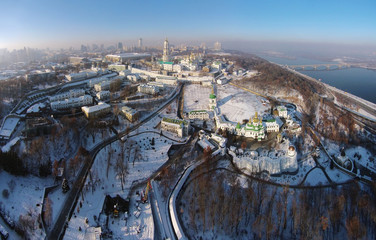 winter aerial view of Kiev-Pechersk Lavra