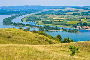 Panorama and landscape near Danube river