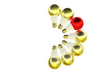 6 yellow, 1 red light bulbs