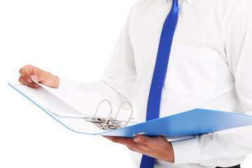 Midsection of a businessman with documents