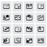 Vector black schoolbook icon set poster