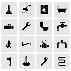 Vector black plumbing icon set