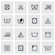 Vector black washing signs icon set