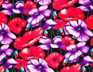 colorful poppies fabric