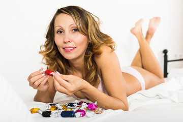woman with chocolate candy resting