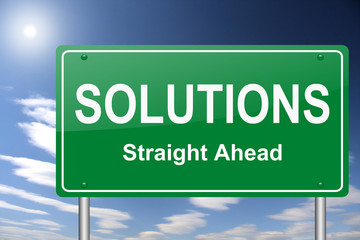 solutions straight ahead highway signpost