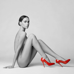 sexy nude woman in shoes