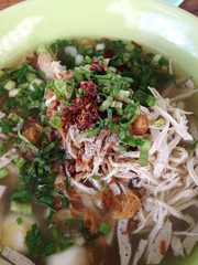closed up noodle soup with chicken