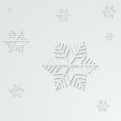 paper snowflakes with shadow on light background