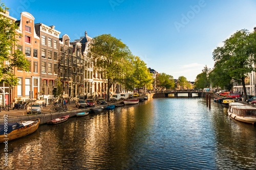 Houses and Boats on Amsterdam Canal - 74096992