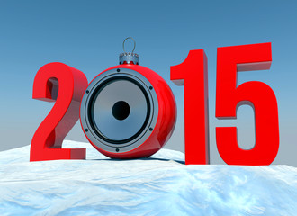 2015 with christmas bauble speaker on snowy landscape