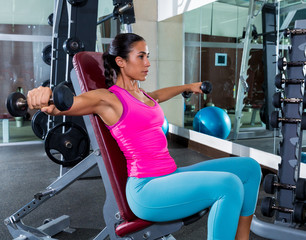 girl seated dumbbell shoulder flies fly workout