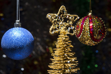 New year composition of balls and gold Christmas trees