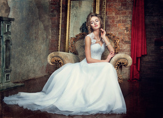 beautiful young girl in a wedding dress