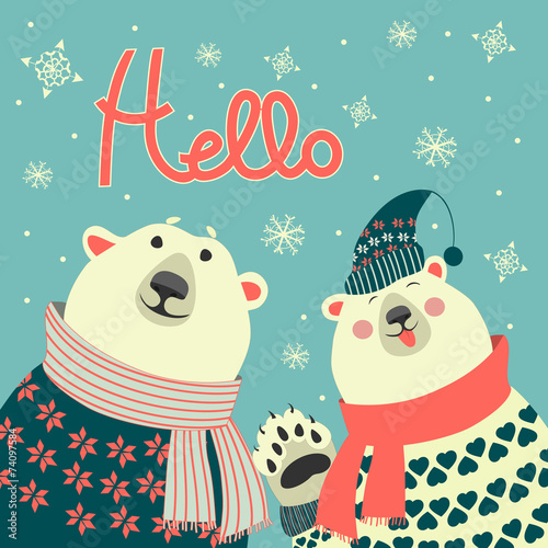 Fototapeta Polar bears say hello