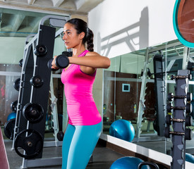 dumbbell front shoulder flies fly woman workout