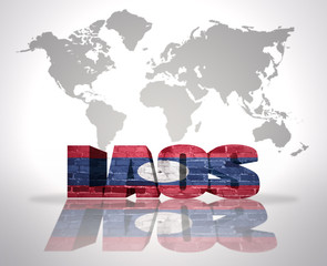 Word Laos on a world map background