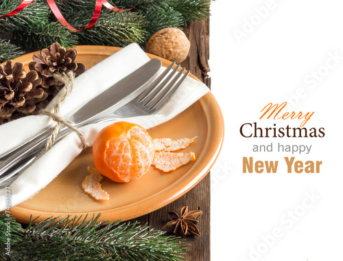 Papiers peints Table preparee Festive table setting with spices and tangerine