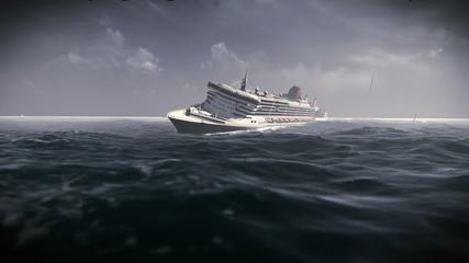Transatlantic sinking in a storm. Sinking ship in a storm
