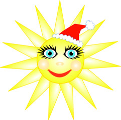 A smiling sun in a red Christmas hat