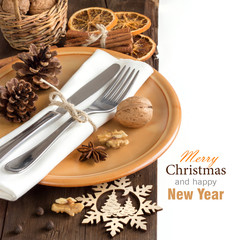 Festive table setting with spices