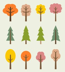Autumn trees - vector icon set