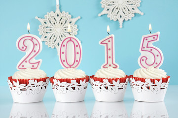 Happy New Year 2015 red velvet cupcakes