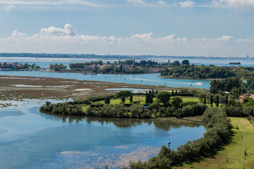 View of the lagoon of Venice, view from the belfry of Torcello